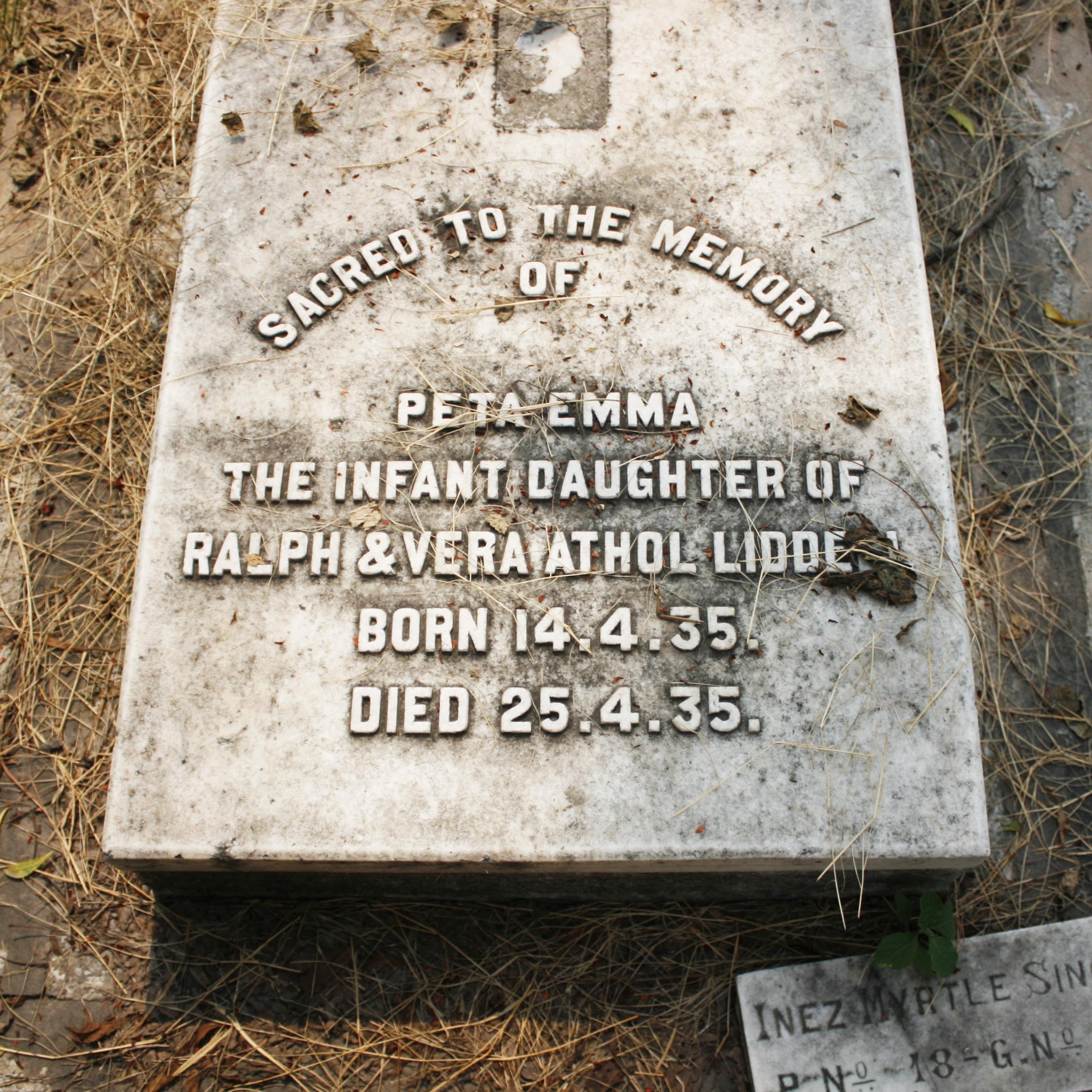 Sacred to the memory of Peta Emma